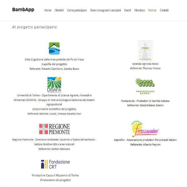 partner del progetto bambapp, un social network per la diffusione dei bambu in piemonte